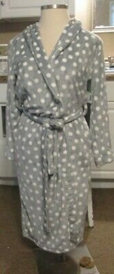 SIMPLY STYLED LARGE PLUSH ROBE HOUSE COAT NWT WOMENS MICRO FLEECE  GRAY DOTS  RP