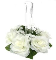 6 Roses Candle Rings CREAM IVORY Silk Wedding Flowers Centerpieces Unity Candle