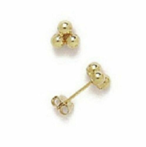 Solid 14K Yellow Gold Classic Three Ball Stud Earrings Four Sizes