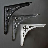 "8 x 7"" ANTIQUE CAST IRON GOTHIC SHELF CISTERN BRACKET BLACK WHITE PEWTER - BR09"