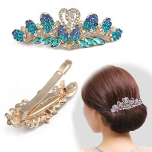 Women-039-s-Rhinestone-Crown-Hair-Clips-Claw-Barrettes-Hairpin-Headdress-Accessories