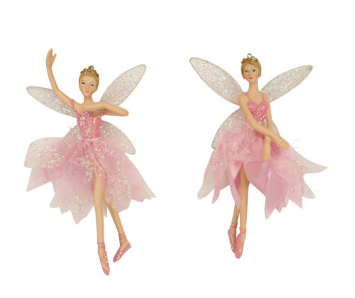 2 x Gisela Graham Pink Ballet Ballerina Fairys Hanging Christmas Decoration 18cm