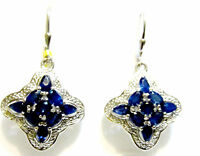Kanchanaburi Blue Sapphire Oval, Pear & Rnd Dangle Earrings, Silver, 5.60(tcw)