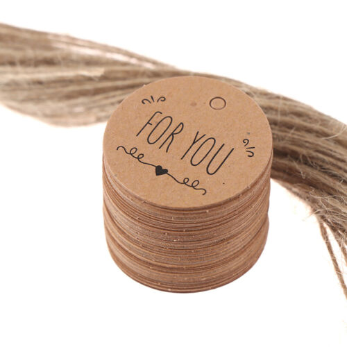100Pcs Kraft Paper Hang Tag for you pattern Label For Gift Tagging Package De MG