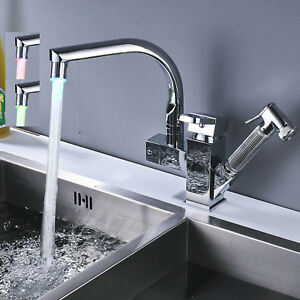 Chrome Kitchen Sink Faucet Pull Out Sprayer Led Light Spout Mixer