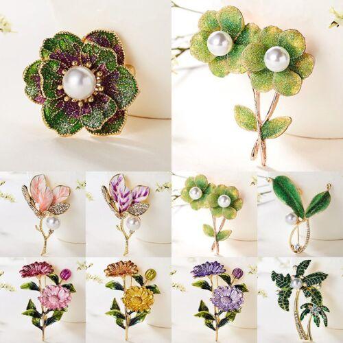 2019 Flower Plant Green Crystal Rhinestone Pearl Collar Brooch Pin Women Jewelry