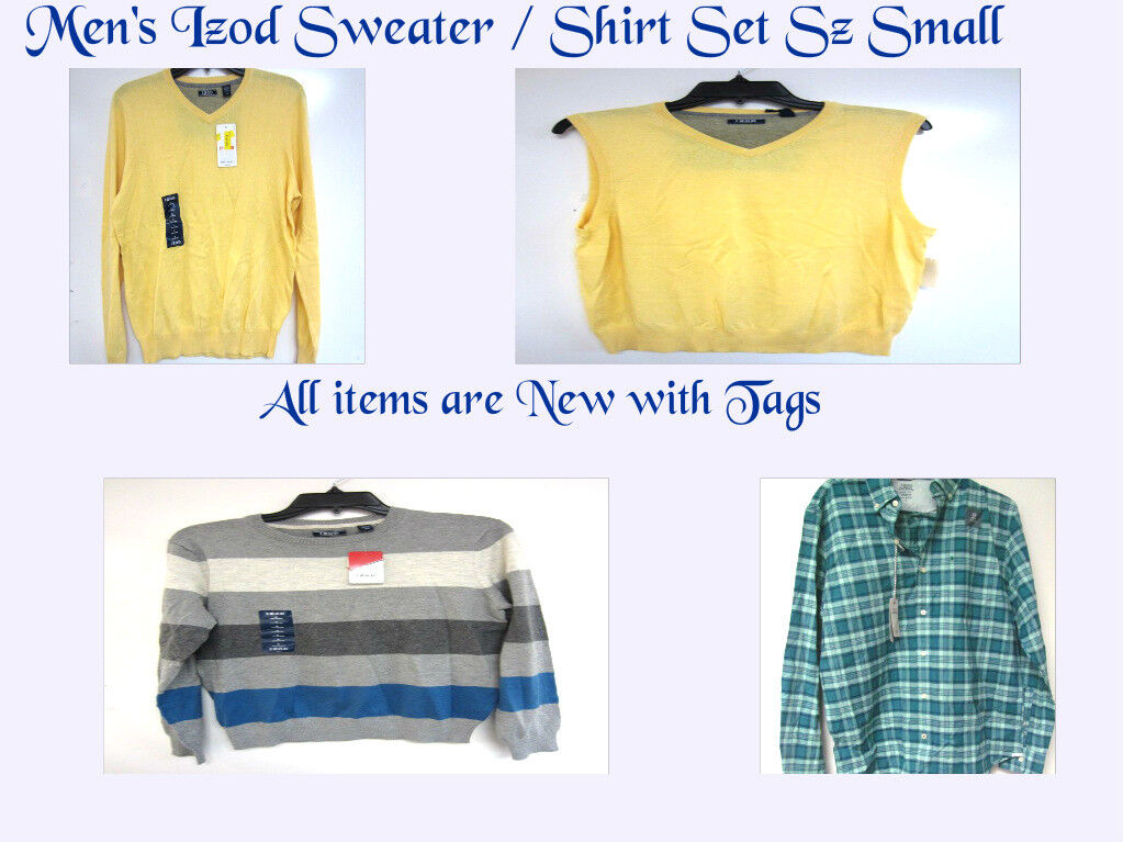 IZOD MEN'S CLOTHING MIXED LOT OF SHIRT  SWEATERS SZ S, ALL NWT, FREE SHIPPING