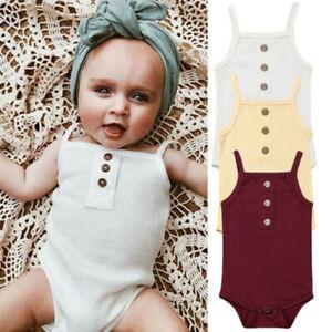 Infant-Newborn-Baby-Girls-Boys-Sleeveless-Solid-Strap-Bodysuit-Romper-ClothesCA