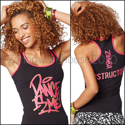 Zumba Fitness INSTRUCTOR'S RacerBack Top Tank Gold Foil Artwork~DANCE IS ME M L