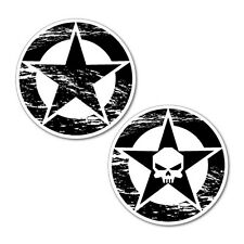 2x Jeep Wrangler Star & Skull Sticker Decal 4x4 4WD Funny Ute #6096EN