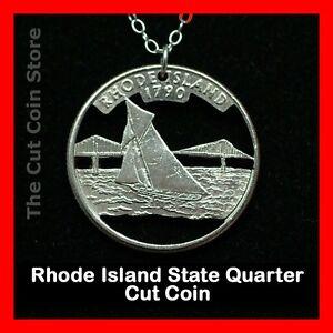 Rhode-Island-Cut-Coin-Jewelry-Necklace-25-RI-Quarter-Ocean-Sailing-Sailboat