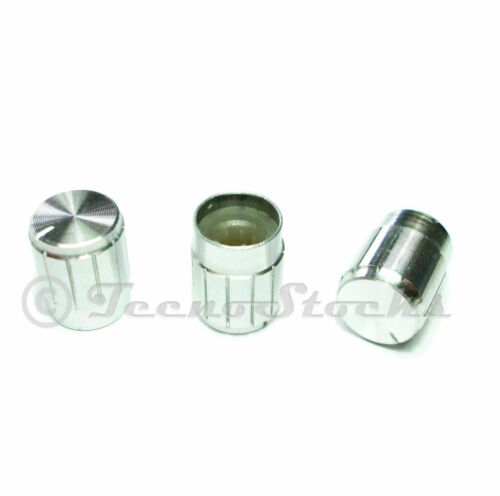 Knob Aluminum Manopola Alluminio Silver 13x17mm per potenziometro albero Ø6 mm