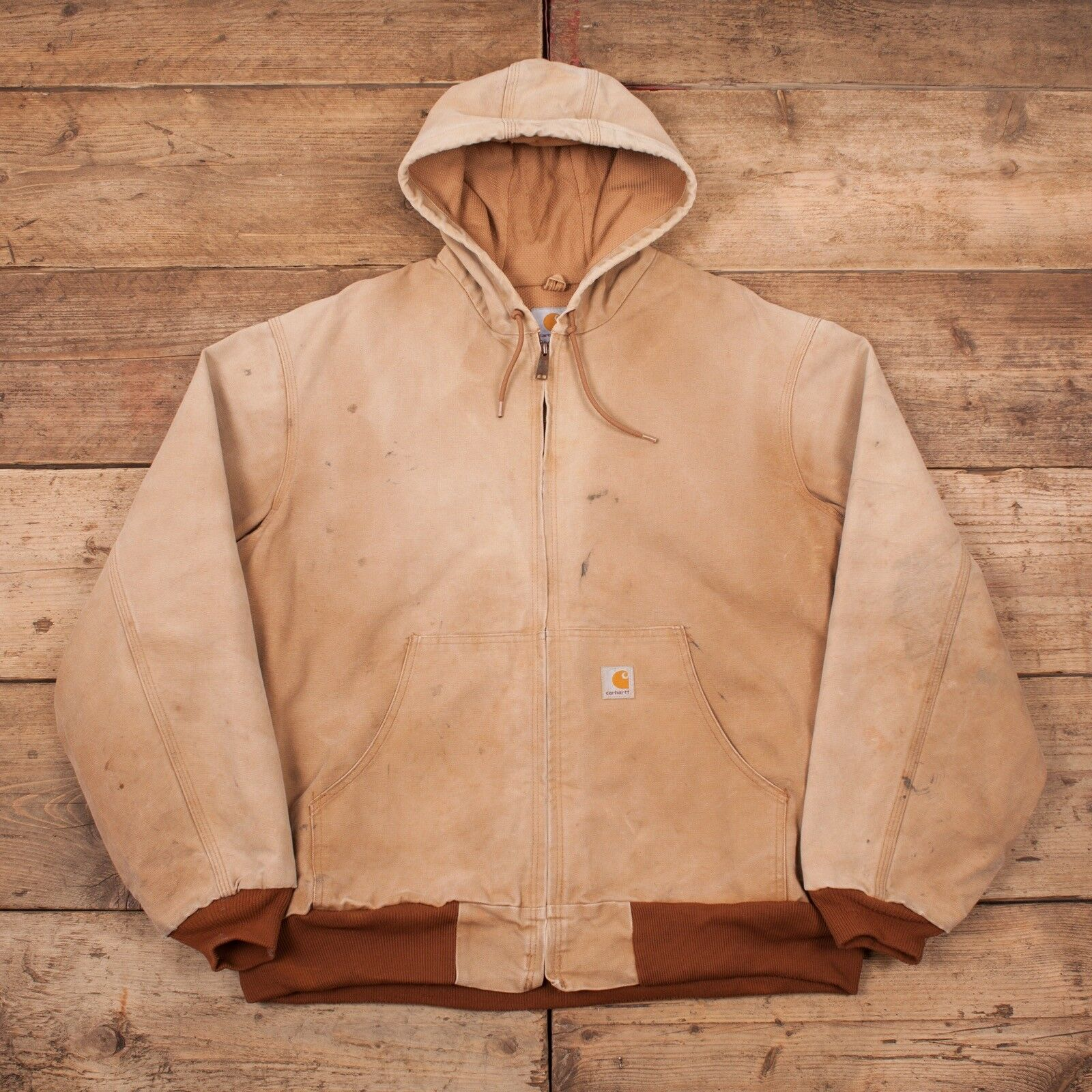 Da Da Da Uomo Vintage CARHARTT Lavato Anatra Workwear delle faccende domestiche Felpa Con Cappuccio Giacca XL 48
