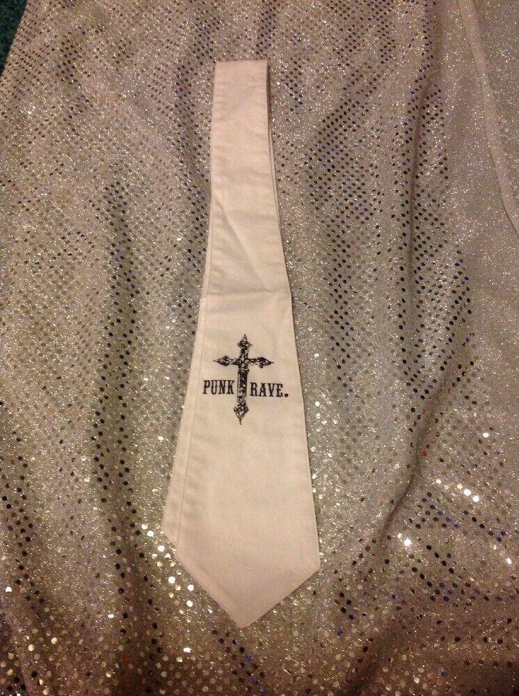 Punk Rave White Neck Tie. New Black Cross Design 40'' Long Fast Free UK Postage