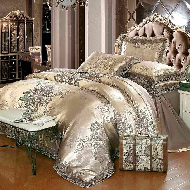 Luxury Bedding Set King Queen Dimensione 4 6pcs Bed Linen Silk Cotton Duvet Cover Lace