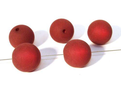 2 Stück #PU17 Polaris Perlen Kugel Kette basteln 16mm Dunkelrot matt
