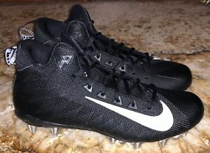 sports shoes 05b86 9affc NIKE Alpha Menace Pro TD Mid Black White Molded Football Cleats NEW ...