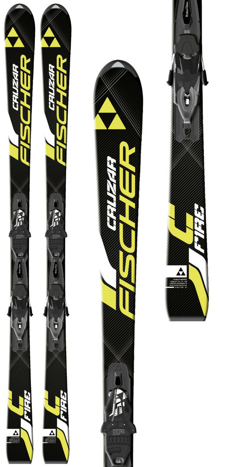 New Fischer Cruzar Fire 165 cm alpine downhill skis and bindings all mountain
