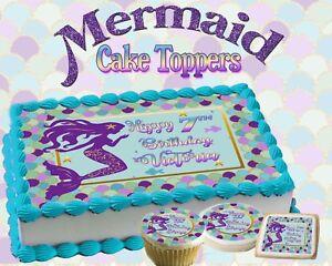 Mermaid Birthday Cake topper Edible paper sugar sheet cupcakes ...