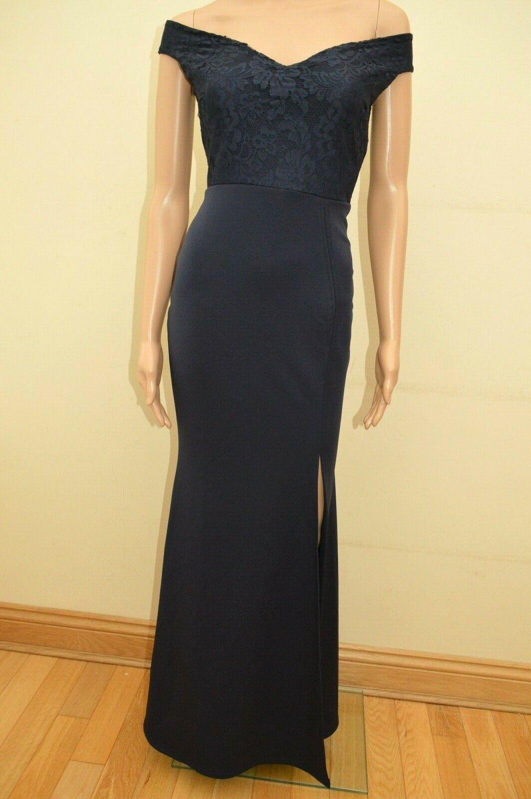 New Lipsy Navy Lace Top Bardot Maxi Dress Sz