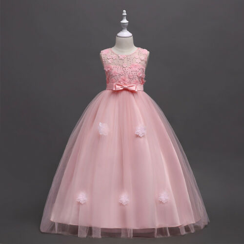 Girl Dress Party Princess Wedding Prom Bridesmaid Flowers Maxi Sleeveless Gowns