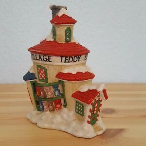 Vintage-Christmas-Ceramic-Santa-039-s-Village-Teddy-Bear-Toy-Factory-Light-Display
