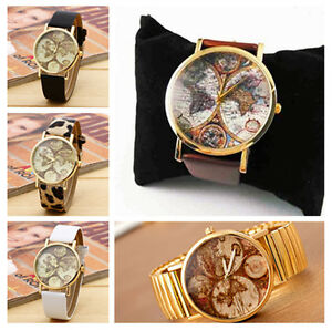 image is loading earth world map watch god gold case leather