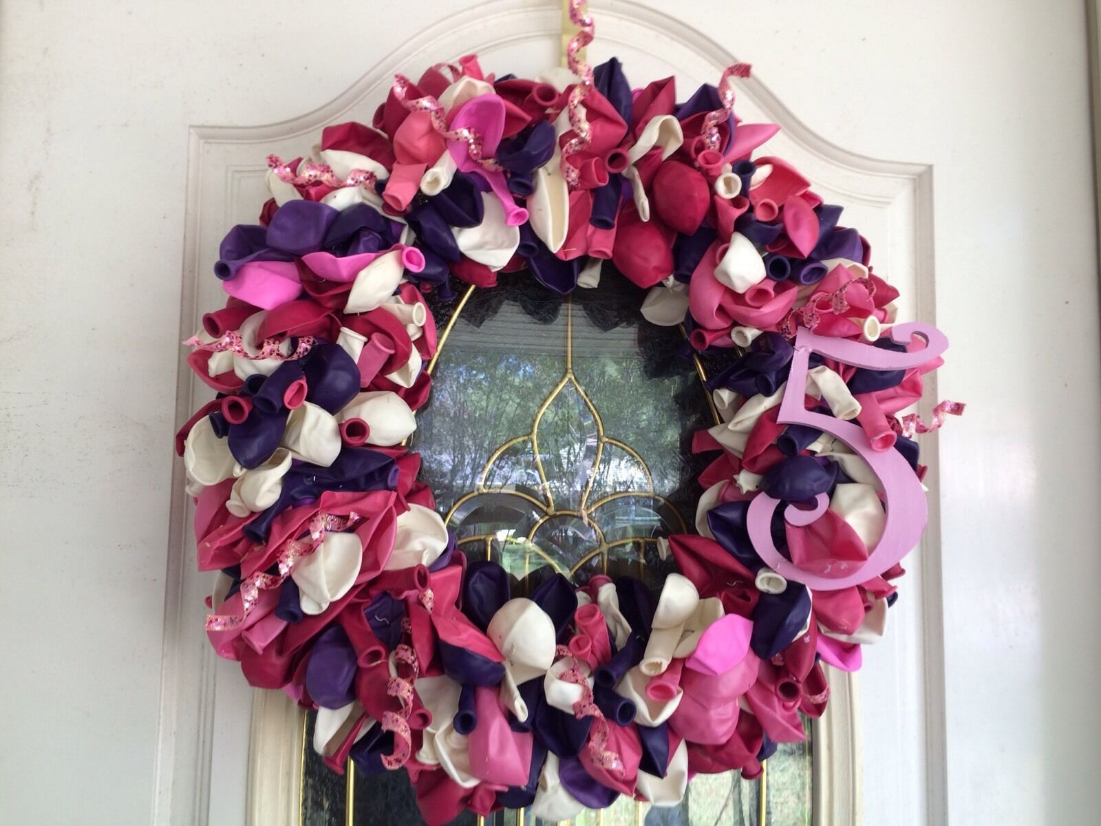 Birthday Balloon Wreath With Number 5 For Girl
