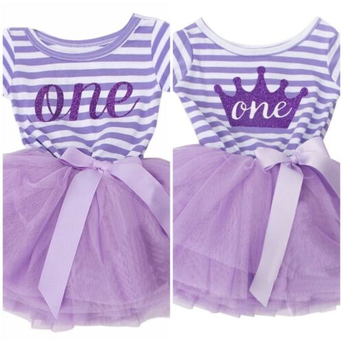 Long Sleeve Baby Girls 1,2,3 Birthday Tutu Striped Dress Party Outfit Cake Smash