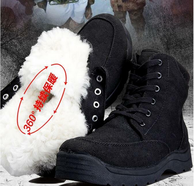 Mens Fur Lined Warm Winter Outdoor Snow Ankle Boots Lace Up Military shoes Sbox