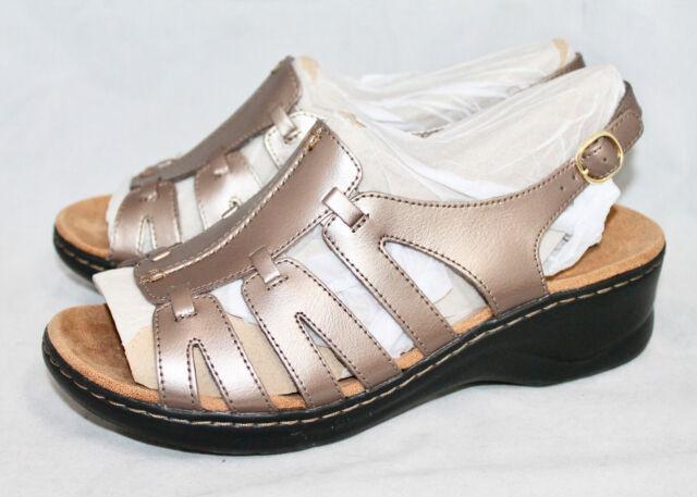 589713c3406 CLARKS Lexi Marigold Q Wo s 10XW Metallic Pewter Slingback Strappy Sandal   85