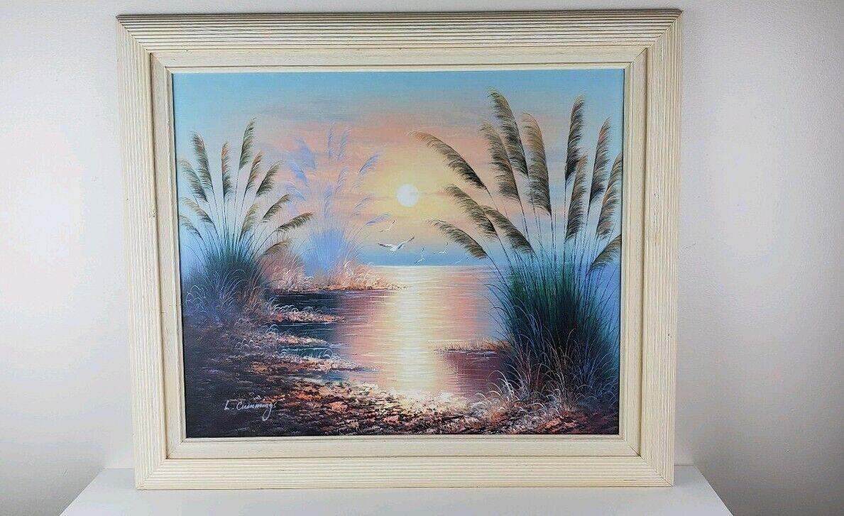 mas preferencial 26x29 original pintura de parojo golpe del cepillo de de de lona L. Cummings puesta de sol Jugara Océano  el estilo clásico