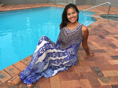 Embellished Silk Crepe Kaftan Dress+Kaftans O//S fits 12-18 Summer Dress Blue