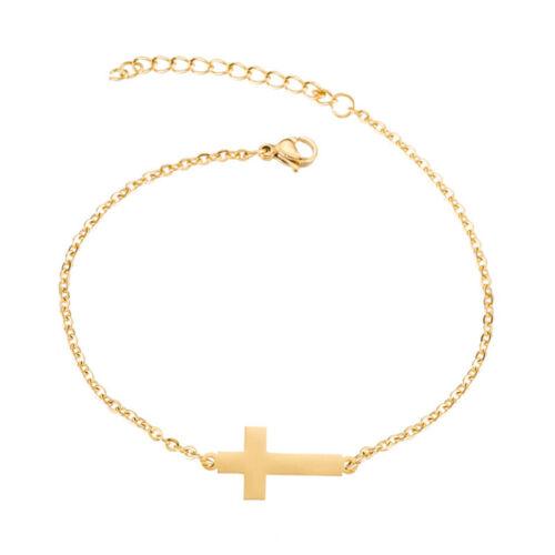 Fashion Chain Bracelet Cross Gold Color Leg Unisex Simple Jewelry Fashion 8C