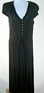 Banana-Republic-Black-Rayon-Midi-Dress-Women-12-Pearl-Buttons-Ruffle-Trim-V-Neck