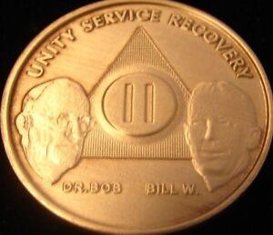 Alcoholics Anonymous AA Bill & Bob 2 Year Bronze Medallion Coin Chip Token Sober