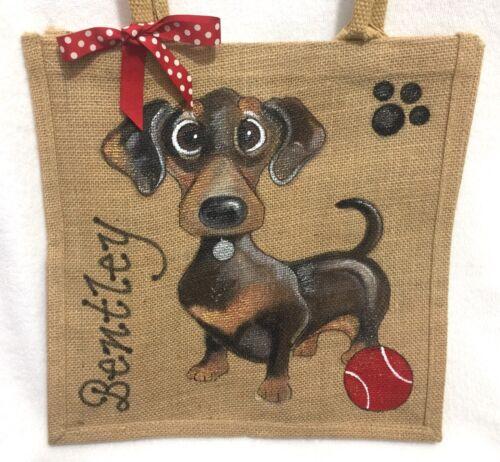 della tedesco mano iuta bassotto della mano della cane della del borsa dipinto Regalo personalizzato del borsa a wXfqaFO