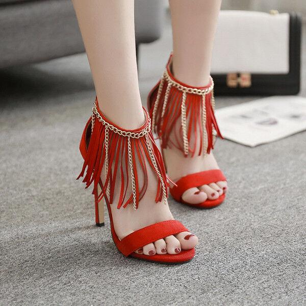Sandale stiletto eleganti tacco   12 cm rosso frange  simil pelle eleganti 1020