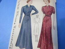 Vintage Simplicity Pattern 1930's Women's Dress Dropped Neck Draped 36 39 Rare