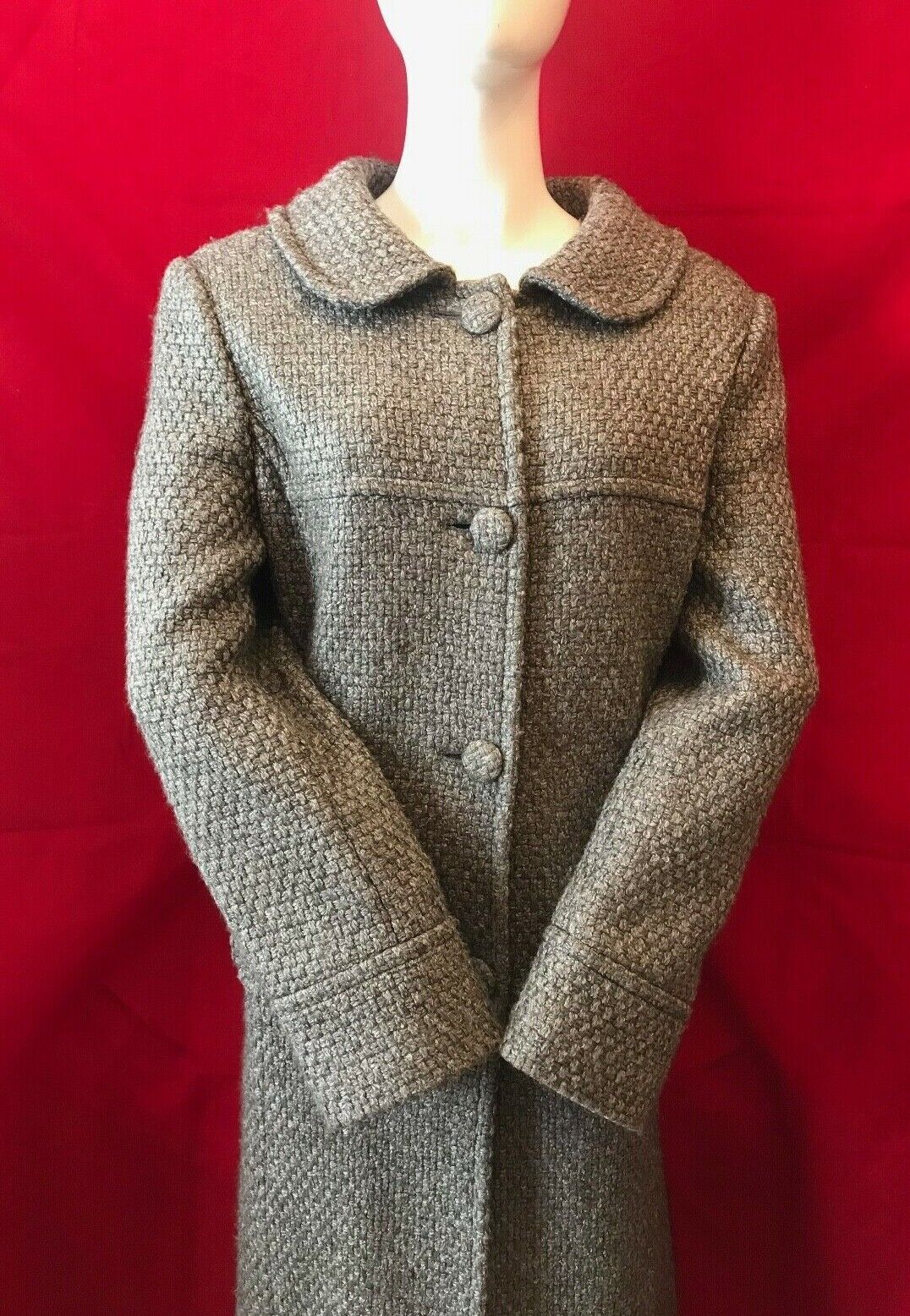PHASE EIGHT Women's  Grey Wool Blend Button Closure Knee Length Coat Size L