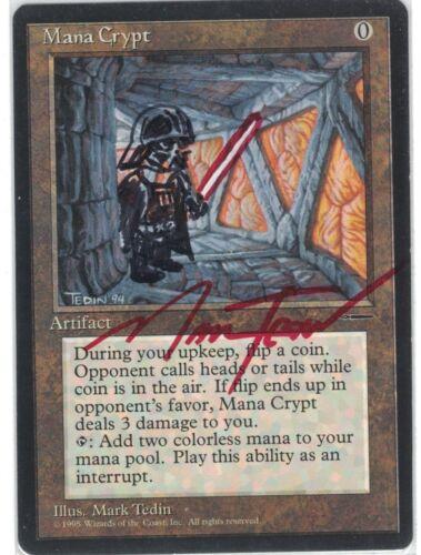 BOOK CARD PROMO Mana Crypt MTG MAGIC English ALTERED /& SIGNED by MARK TEDIN
