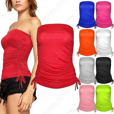 New Women Strapless Side Tie Boob Tube Top Ruched Ladies Bandeau Plus Size 8-26