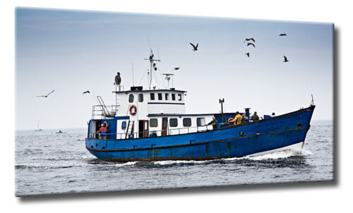 Leinwand Bild Schifferboot Kutter Sepia Ostsee Meer