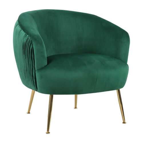 Velvet Pleated Back Accent Armchair Tub Chair Round Occasional One Seater Sofa Emerald Green Armchair,Dusty Pink Armchair,Grey Armchair