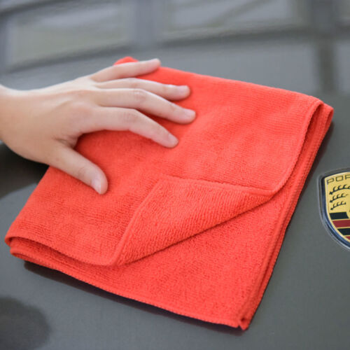 """6 microfiber 16x16/"""" cleaning cloths detailing polishing towels rags 380 gsm FRD"""