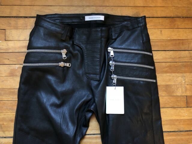 a4554a88 PIERRE BALMAIN BLACK LAMBSKIN LEATHER MULTIZIPPERS BIKER PANTS JEANS 46 30  $2450