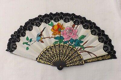 Radient Vintage Hand Held Fan Uccellino E Fiori Di Celluloide/materiale Di Costruzione (f78)-mostra Il Titolo Originale Luminoso E Traslucido Nell'Apparenza