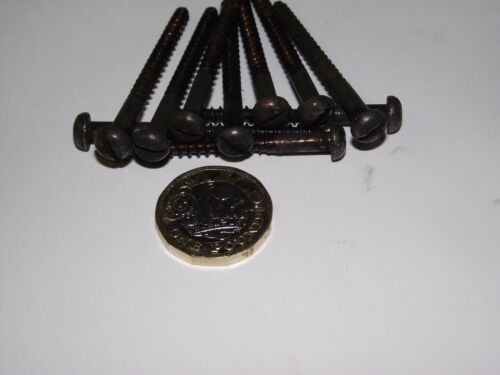 """Qty 10 BRASS 8 x 2 1//2/"""" COPPER FINISH ROUND HEAD SLOTTED WOOD SCREWS"""