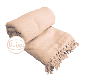 Details About Beige Honeycomb Waffle 100 Cotton Sofa Throws Bed In 5 Sizes