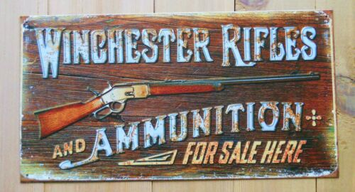 WINCHESTER Rifles /& Ammunition For Sale Here Tin Metal Sign Vintage USA Made